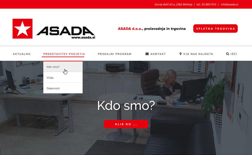 Predloga spletne strani - Asada.si