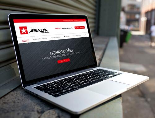 Predloga / mockup spletne strani – Asada